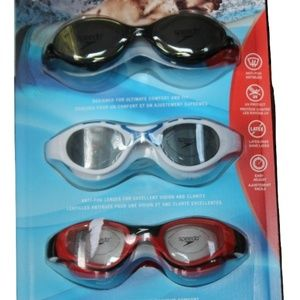 SPEEDO Adult Swim Goggles 3-pack, Black/White/Red